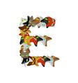 letter e cat font pet alphabet symbol home animal vector image