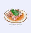 pork belly dish okinawan cuisine hand drawn vector image