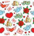 valentine s day seamless pattern with hearts vector image