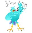 cartoon happy singing bird vector image vector image
