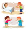 Set icons little boy sick and compassionate girl vector image