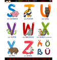 cartoon german alphabet with animals vector image vector image