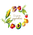 I love vegetables circle frame watercolor vector image