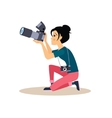 Girl Photographer in Flat Style vector image