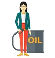 Woman with oil can and filling nozzle vector image