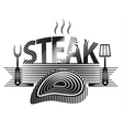 steak sign black and white vector image vector image