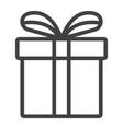christmas gift box line icon new year christmas vector image
