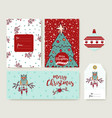christmas tree cartoon holiday greeting card set vector image