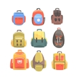 Colorful Cartoon Backpacks Set Of School Bag For vector image
