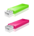 green and pink usb flash drive vector image