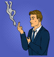 man smokes cigarette pop art style vector image