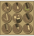 vintage icon set of different drawing tools vector image