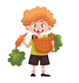 boy holding baskets of fruits and vegetable vector image