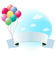Balloons with an empty banner vector image vector image