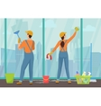 Cleaning team staff man and woman janitors vector image