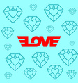 Love logotype with wings Background with diamond vector image