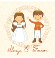 Prince and princess holding hands vector image