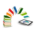 Books flying in a tablet vector image vector image