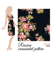Floral textile pattern in Russian Zhostovo style vector image
