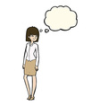 cartoon pretty businesswoman with thought bubble vector image