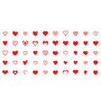 design red heart shapes icons set simple vector image