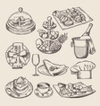 different pictures for restaurant menu in retro vector image