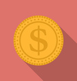 Dollar coin icon Modern Flat style with a long vector image