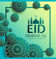 eid festival greeting design with islamic pattern vector image