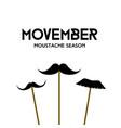 movember mustache season mustache mask on stick vector image