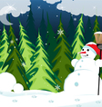 Snowman in the night forest vector image
