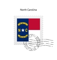 State of North Carolina flag postage stamp vector image