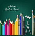 Welcome back to school with teaching aids vector image