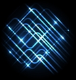 Abstract neon blue background with lines vector image