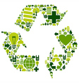 Recycle symbol with environmental icons vector image