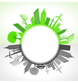 Eco and polluted city around circl vector image