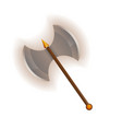 Medieval two blade battle ax icon vector image