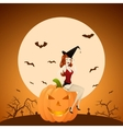 Beautiful red-haired PinUp witch on pumpkin vector image