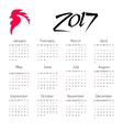 Calendar 2017 with The Red Rooster symbol of 2017 vector image