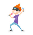 cartoon boy character in virtual reality glasses vector image