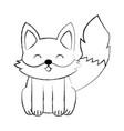 cute sketch fox cartoon vector image