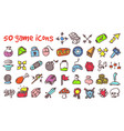 Doodle game icons set vector image