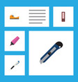 flat icon tool set of pencil sticky dossier and vector image