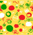 seamless pattern with decoration balls hand drawn vector image