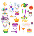 mardi gras festival collection on white vector image