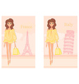 beautiful fashion women Shopping in France and vector image vector image