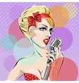 Pop Art of young woman singing with vector image