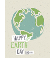 Happy Earth Day Poster Earth on the recycled paper vector image