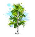 Colored hand sketch birch vector image