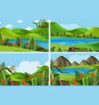 four scenes with mountains and lake vector image