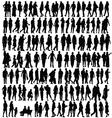 people silhouette black vector image